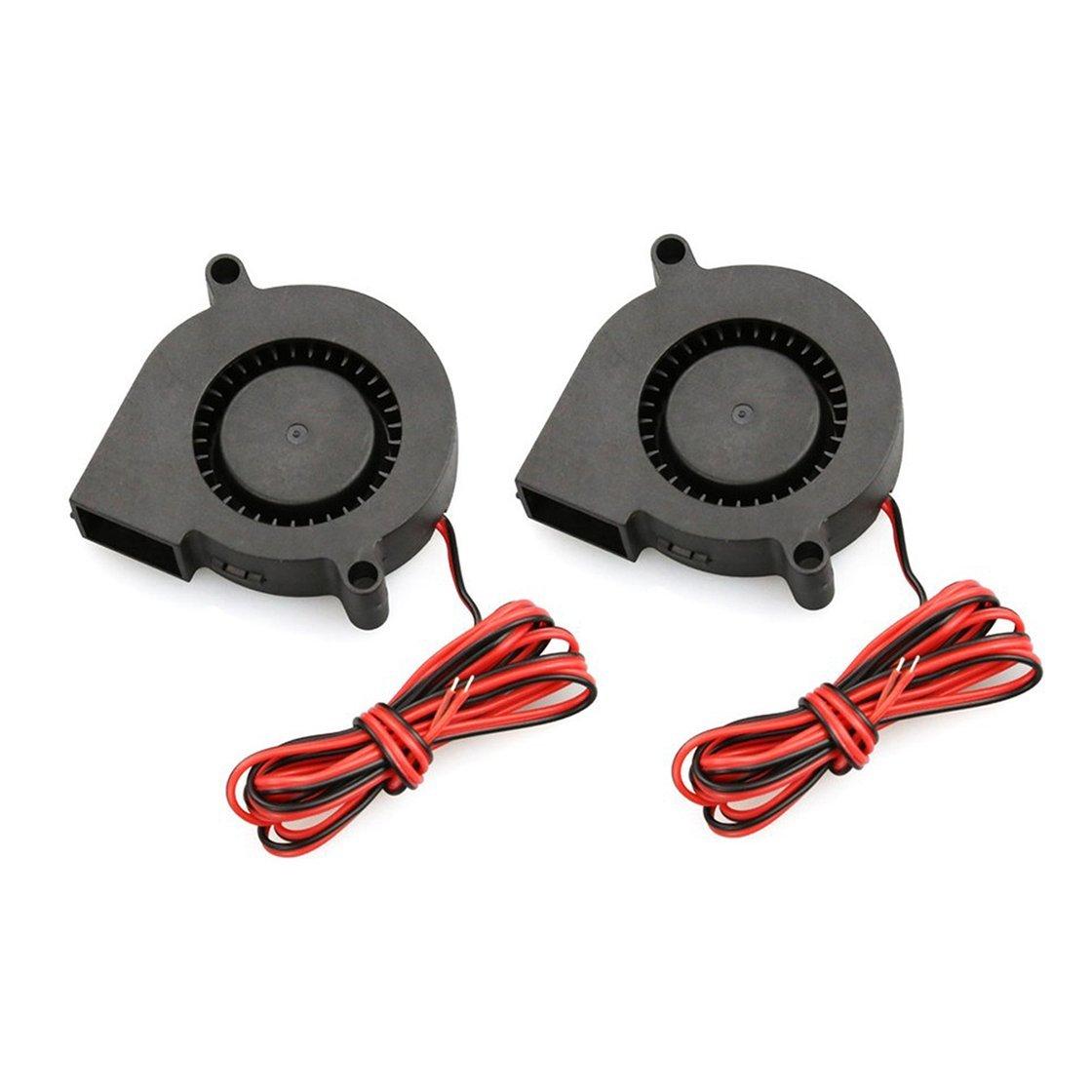 Gwendoll 2 PCS Mini Ventilateur 50mmx50mmx15mm Ventilateur de Refroidissement Partie 5015 Ventilateur Radial Turbo Ventilateur 12V Ventilateur de Refroidissement pour imprimante 3D