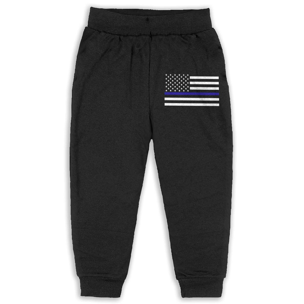 Never-Cold Thin Blue Line American Flag Toddler Boys Cotton Sweatpants Elastic Waist Pants for 2T-6T