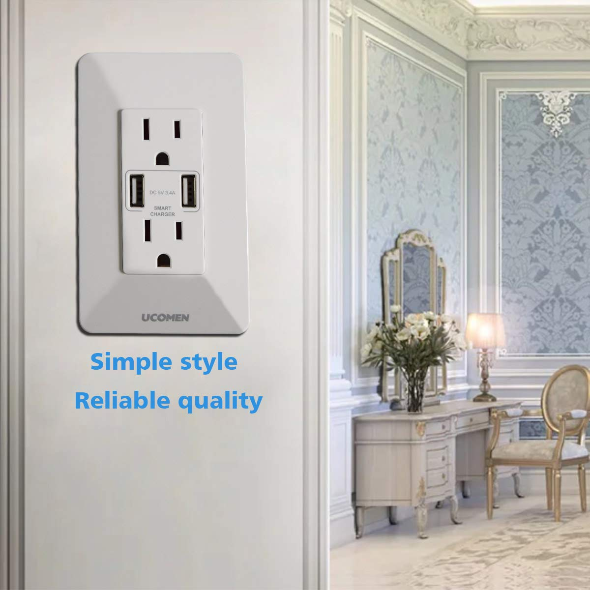 UCOMEN 2 Pack,USB Wall Outlet,USB Outlets,High Speed USB Wall Charger Outlet,Resistant Receptacle,USB Charger Outlet,Dual USB Charger with 15A Tamper Resistant Duplex Receptacle,White KEMAN