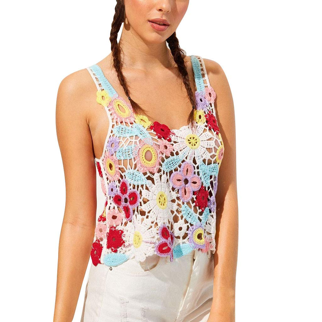 Womens Hollow Out Sleeveless O-Neck Tops Floral Crochet Tank Top by HJuyYuah