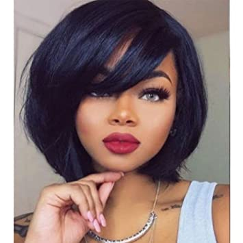 Hesperis 8inch Malaysian Virgin Hair Silky Straight None Lace Short Bob Wig  With Side Bangs Human