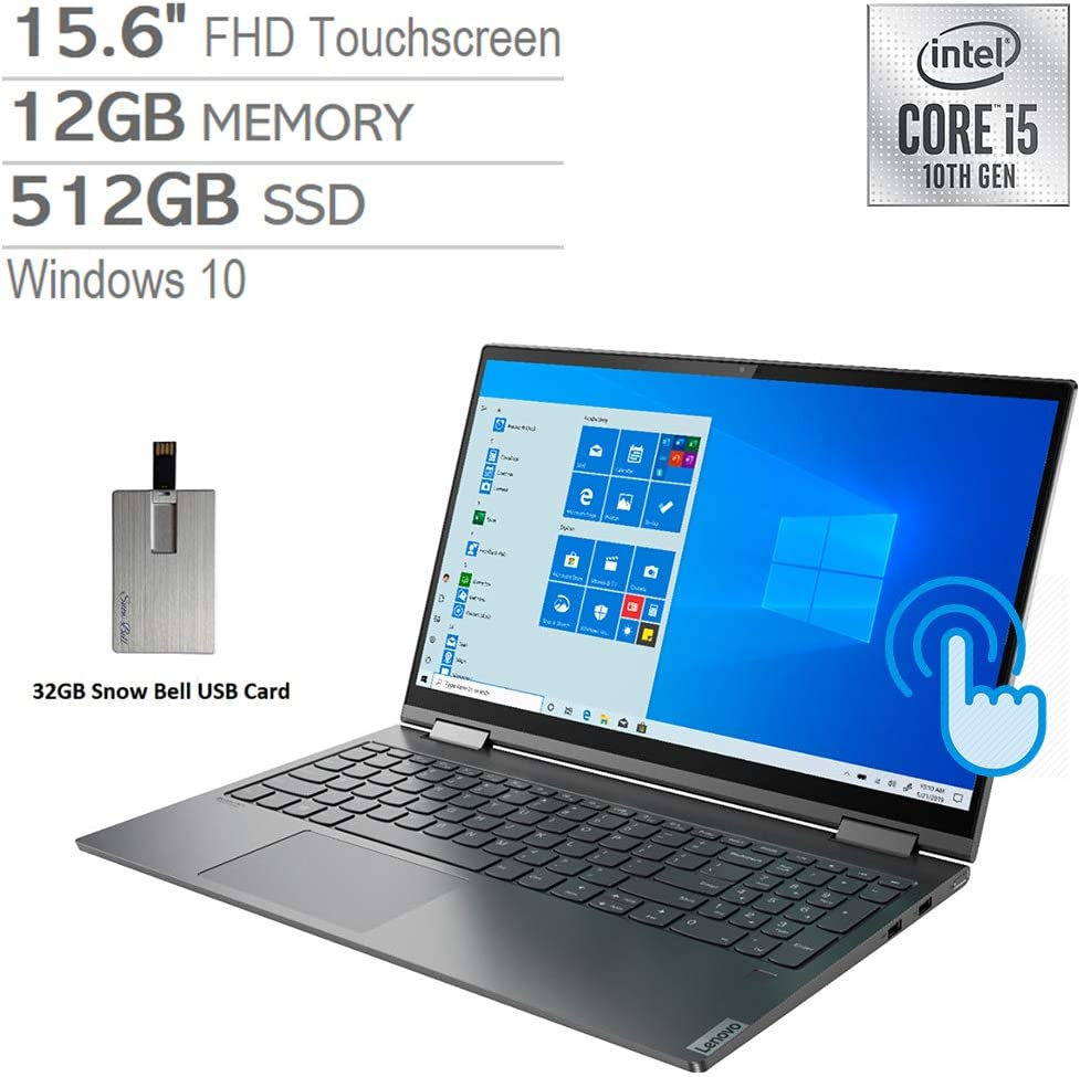 "2020 Lenovo Yoga C740 2-in-1 15.6"" FHD Touchscreen Laptop Computer, Intel Core i5-10210U, 12GB RAM, 512GB SSD, Backlit Keyboard, Intel UHD Graphics, HD Webcam, USB-C, Win 10, Gray, 32GB USB Card"