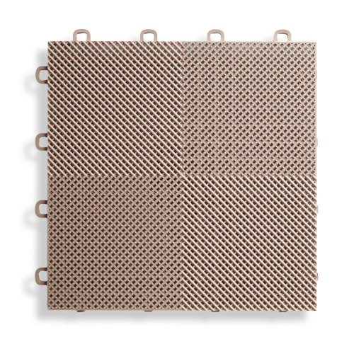 BlockTile B2US5130 Deck and Patio Flooring Interlocking Tiles Perforated Pack,  Beige, (Beige Deck Mat)