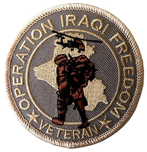 (Operation Iraqi Freedom Veteran Round Iron On Embroidered Patch)