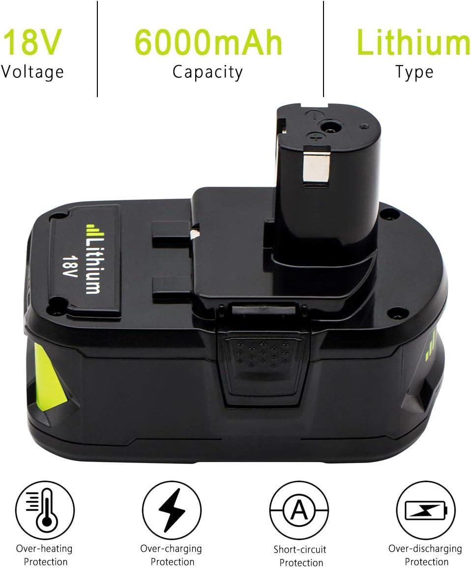 KINGTIANLE 1pack 6.0Ah 18V Replacement Battery for Ryobi 18V Lithium Battery P102 P103 P105 P107 P108 P109 Ryobi ONE Cordless Tool