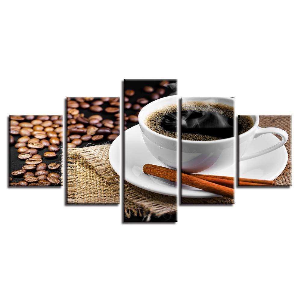 DYDONGWL Lienzo Cuadros Arte de la Pared Modular 5 5 5 Piezas Café y Granos de Café Pinturas HD Marco Impreso Decoración Moderna Sala de Estar 2e1105