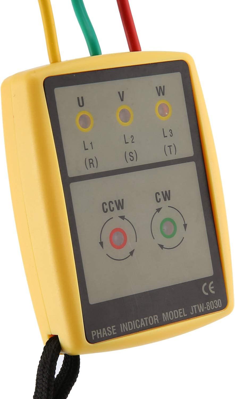 Jessicadaphne Jtw Jtw-8030 Medidor de Secuencia trif/ásico port/átil Mult/ímetro Presencia Rotaci/ón Probador Indicador de Fase Detector Medidor Led Zumbador