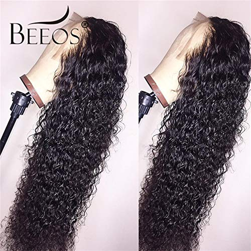 BEEOS Hair 13x6 Curly Lace Front Wig Pre Plucked Hairline Glueless Brazilian Lace Front Human Hair Wig With Baby Hair 24inch