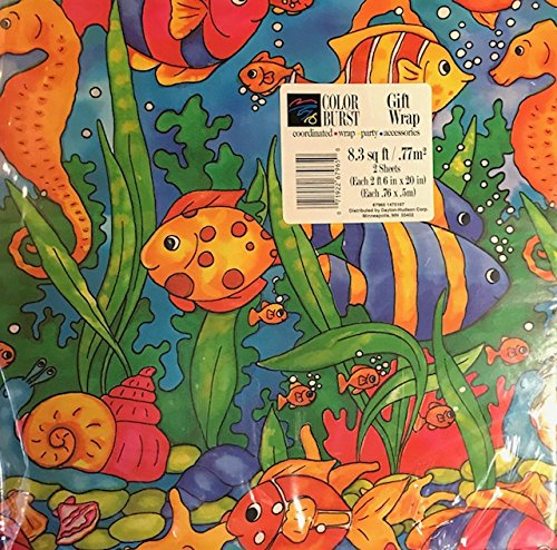 Vintage Gift Wrap for All Occasions Color Burst Under the Sea (2 (Retro Gift Wrap)