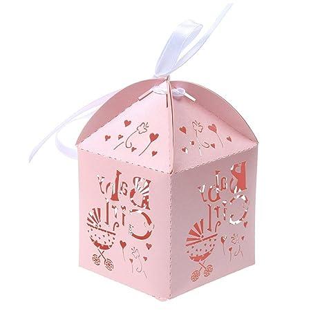 Pixnor Corte del Laser de 50 piezas con carro hueco patrón caramelo caja Baby Shower boda favor cajas (rosa): Amazon.es: Bricolaje y herramientas