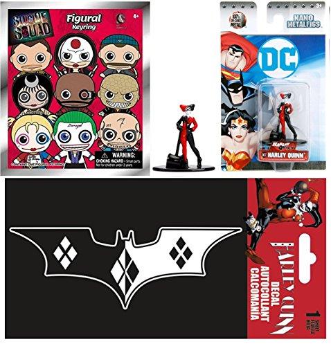 Harley Quinn DC Suicide Squad Pack Nano Mini Figure Harley Quinn Character Set + Mystery 3D Figural Keychain Blind Bag & Bonus Decal Harley Quinn Bat Logo Sticker