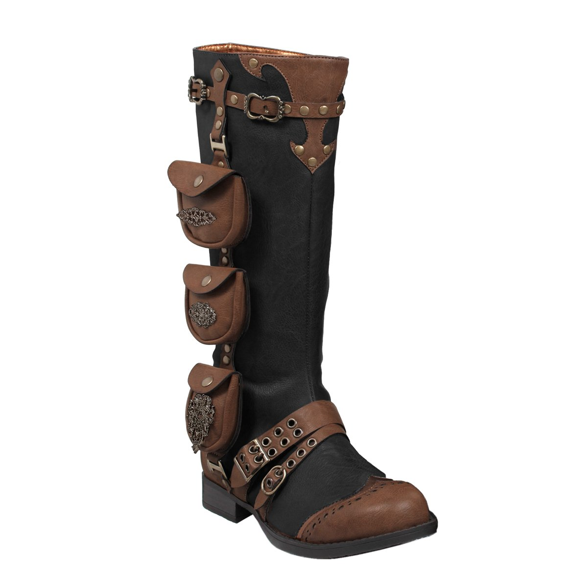 02c88214058 Amazon.com  Womens 1 Inch Heels Black Knee High Boots Steampunk Brown  Straps Costume Shoes  Clothing