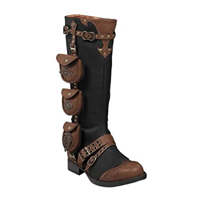 f9b07ae5118 Womens 1 Inch Heels Black Knee High Boots Steampunk Brown Straps Costume  Shoes Size  7