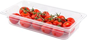 Met Lux 2.5 Inch Deep Food Pans, 1 1/3 Size Commercial Food Storage Container - Freezer-Safe, Break-Resistant, Clear Plastic Cold Pans, Dishwasher-Safe, For Kitchens, Restaurants, Or Cafeterias
