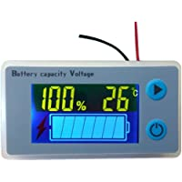 Multifunction 10-100V LCD Battery Capacity Meter Voltmeter with Temperature Display Battery Fuel Gauge Indicator Voltage…