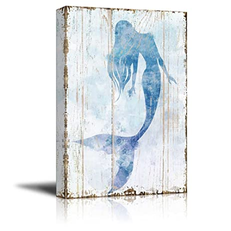 Wall26   Canvas Wall Art   Mermaid Picture On Vintage Background Rustic  Artwork | Modern Giclee