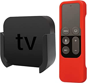 TV Mount Compatible with Apple TV 4th and 4K 5th Generation, Auswaur Wall Mount Bracket Holder Compatible with Apple TV 4th and 4K 5th Gen with Red Silicone Siri Remote Protective Case Cover