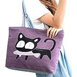 Meiyiu Women Girls Casual Satchel Cute Cat Patttern Handbag Single Shoulder Canvas Bag Purple