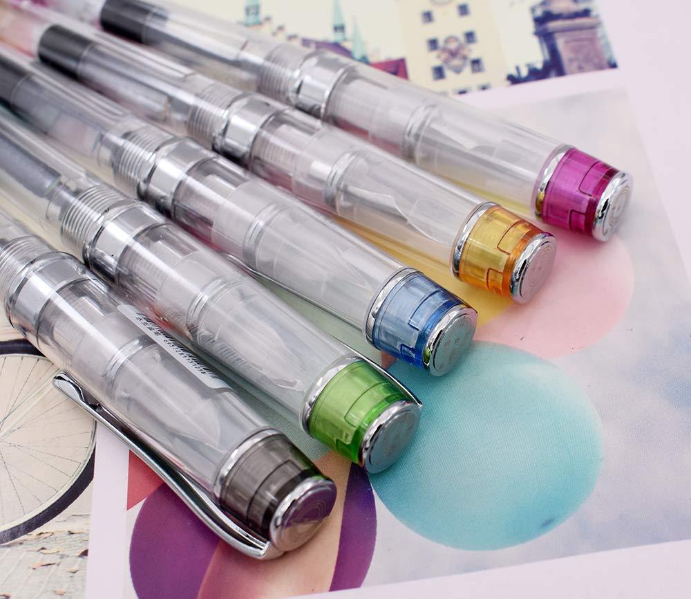 ufficio per firme scuola Set di 5 penne stilografiche con punta fine trasparente e convertitore di ricarica