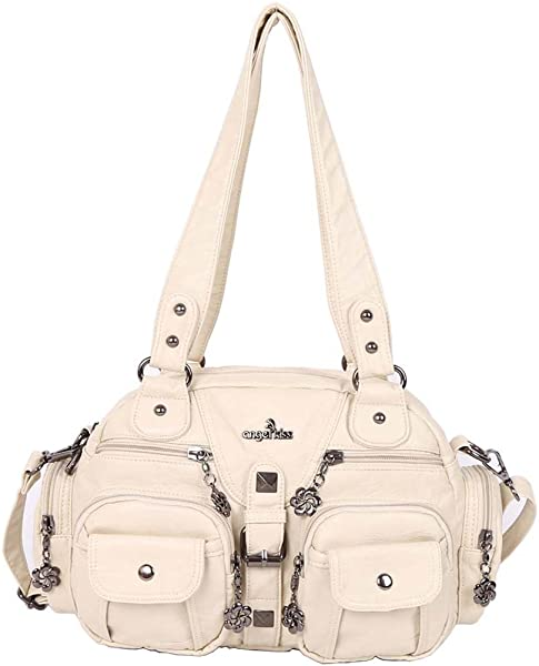 Angelkiss 2 Top Zippers Large capacity Handbags Washed Leather Purses Shoulder  Bags AK18579 (Beige) 02bae5620ac55