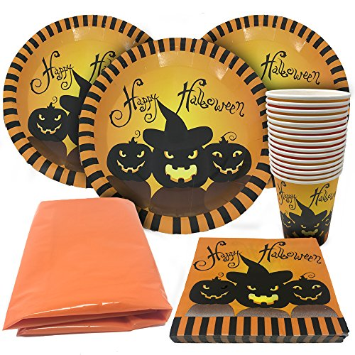 Halloween Tableware Set - Serves 15 Guests - Perfect Party Supplies - 15 Spooky Themed Cups, 15 Plates 30 Napkins and a Large Tablecloth! -