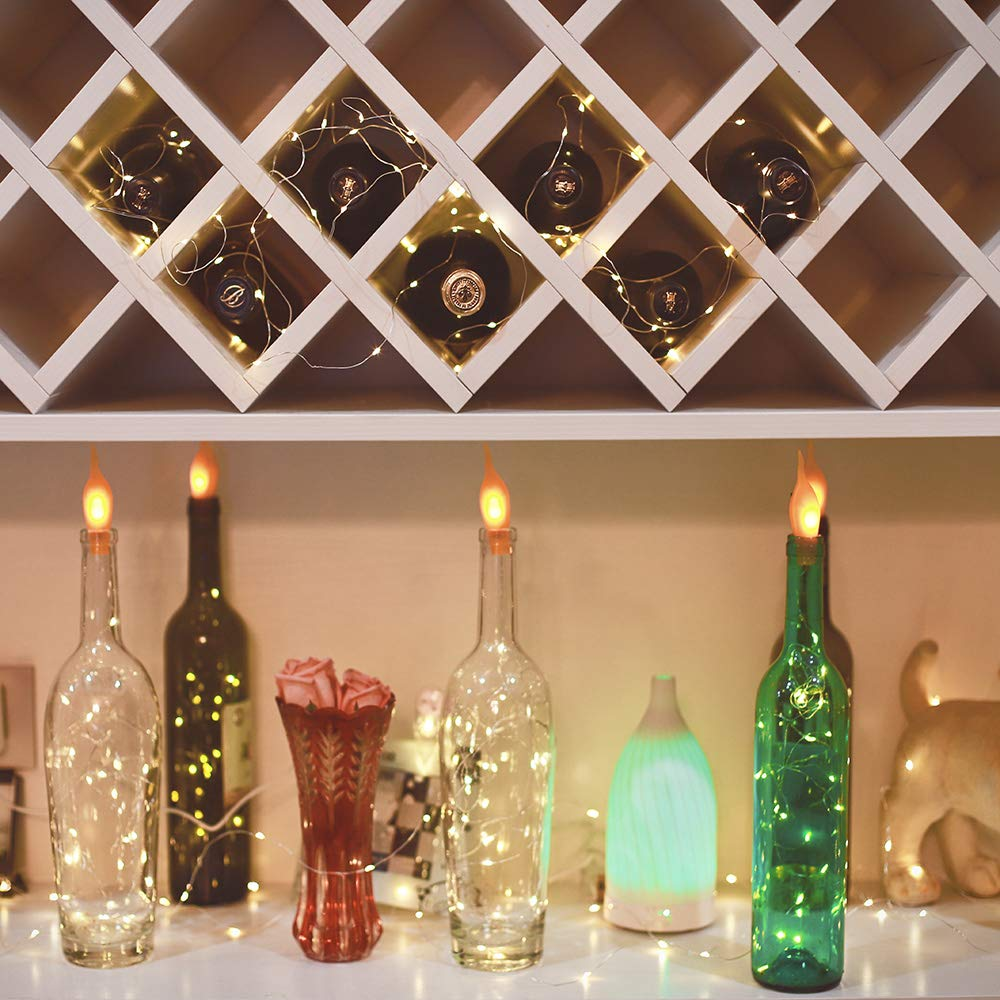 Wine Bottle Lights with Cork , 20 LED Battery Operated fairy string lights Mini Copper Wire Bottle Lights for DIY, Party,Decor,Christmas,Thanksgiving Day,Wedding (Color:Warm White) (10, Warmwhite)