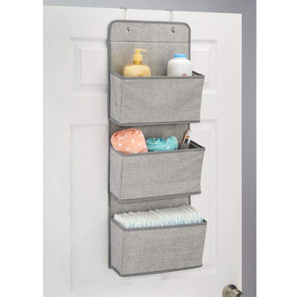Towels Pack of 2 Nappies Grey mDesign Over Door Fabric Baby Nursery Wardrobe Organiser for Stuffed Animals 3 Pockets Each Moist Toilet Tissue