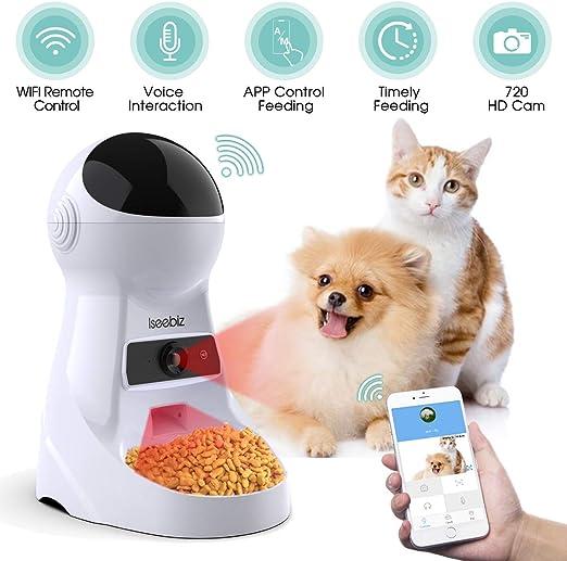 Iseebiz - Alimentador automático de Alimentos, dispensador automático para Perros y Gatos con cámara incorporada, Control de Aplicaciones, Inteligencia Artificial, grabación de Voz, 3,5 L: Amazon.es: Productos para mascotas
