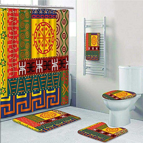 50%OFF PRUNUS Designer Bath Polyester 5-Piece Bathroom Set,Tribal s and Ornaments Style Tribal Symbols Yellow Green Print bathroom rugs shower curtain/rings and Both Towels(Large size)