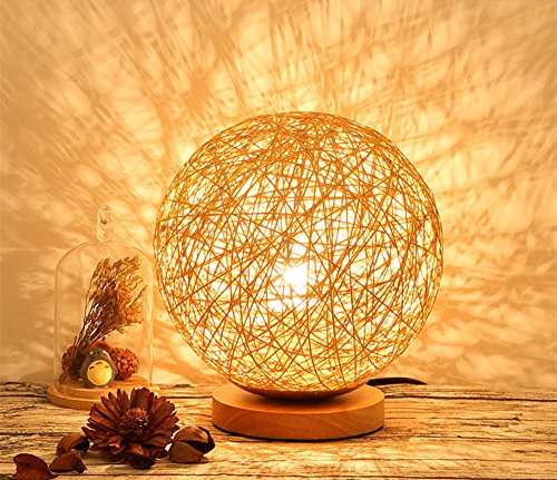 BOKT Minimalist Novelty Romantic Solid Wood Table Lamp for Bedroom Bedside Desk Lamp Home Decor Rattan Ball Lampshade (Linen)