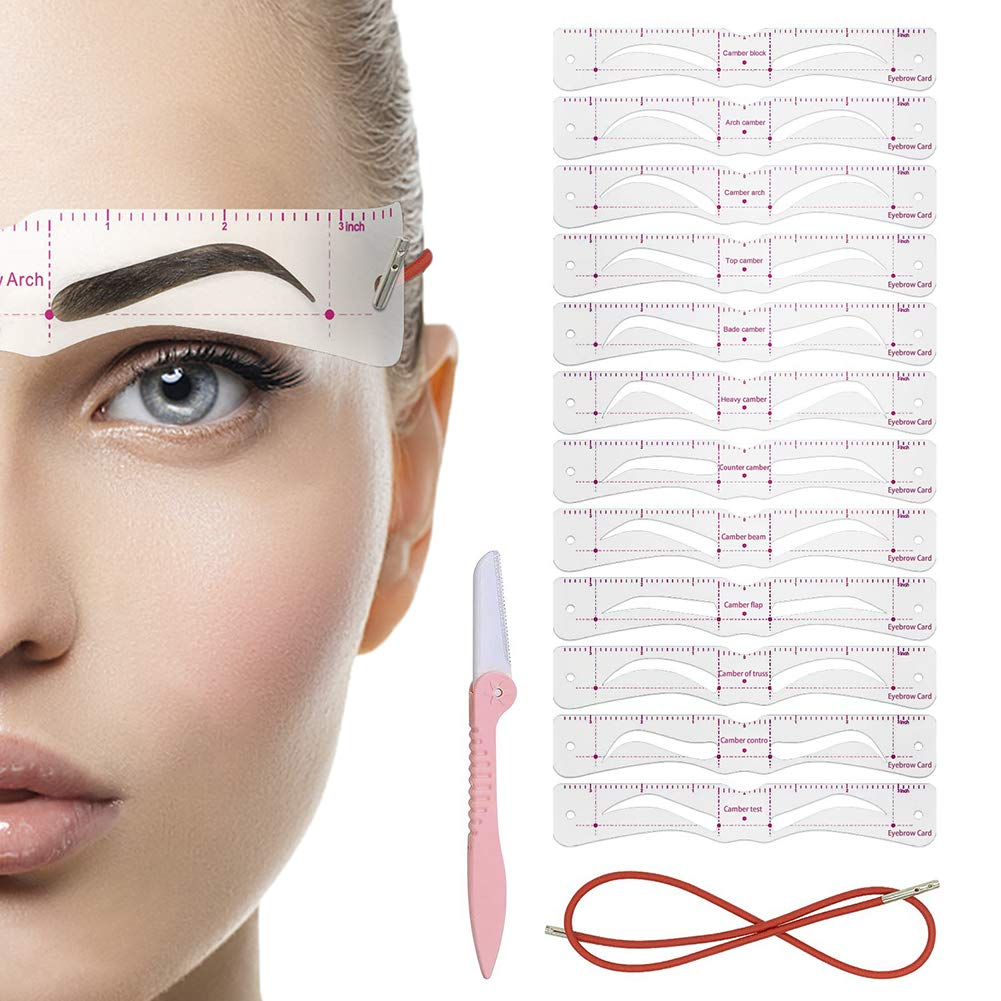 Eyebrow Stencil, 12PCS Eyebrow Shaper Kit, Reusable Eyebrow Template With Strap, 3 Minutes Makeup Tools For Eyebrows