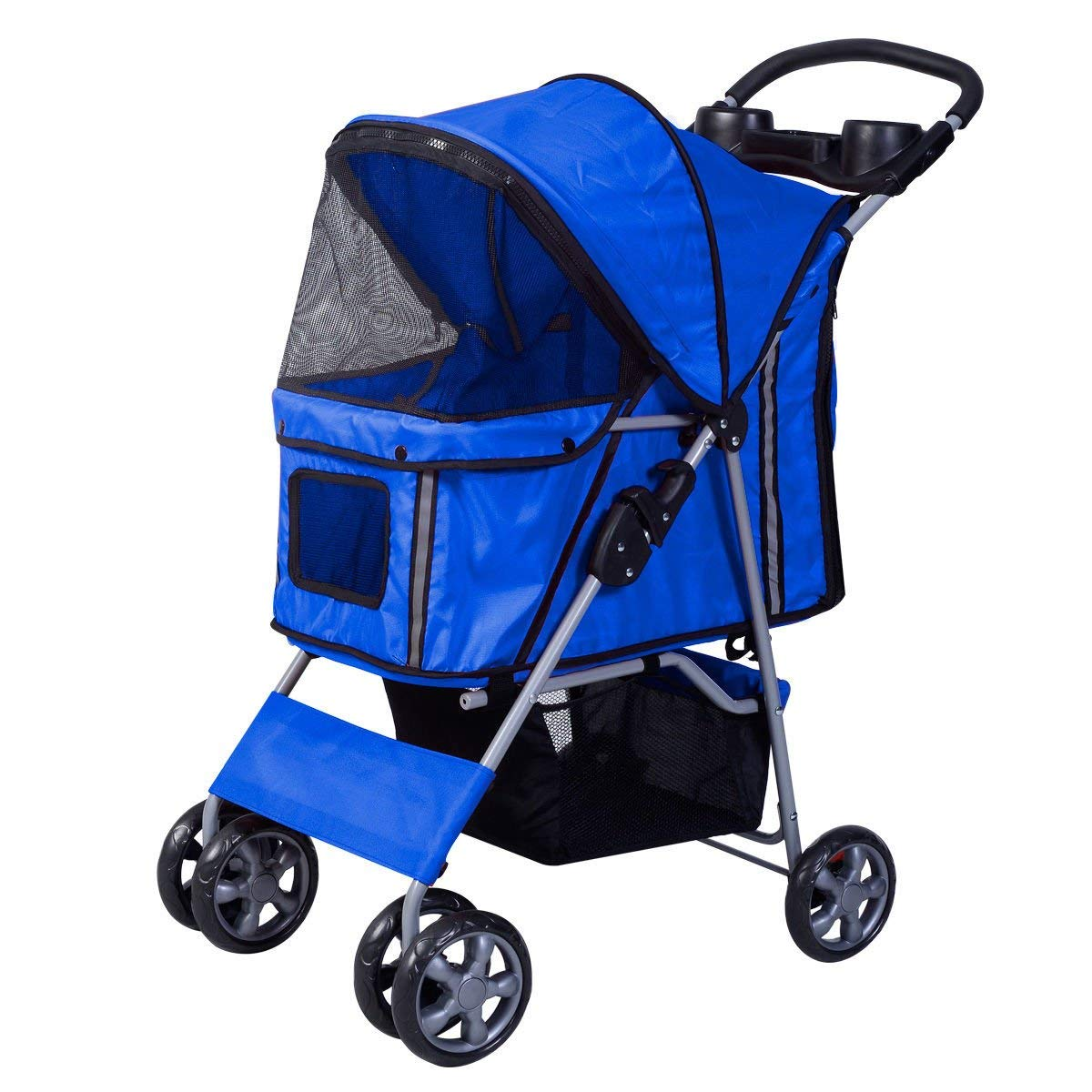 GWM Backpacks Pet Stroller Dog Pushchair Light Weight Stainless Frame pet Travel Carrier Big Wheel with Safety Breaks