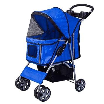 Silla de paseo para mascotas, silla de paseo para perros Portador de viaje liviano con marco de acero inoxidable para mascotas Rueda grande con cortes de ...