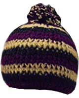 Purple, White & Blue Striped Bobble Hat - Fleece lined for extra warmth and comfort - Hand Knitted - 100% Fairtrade Wool