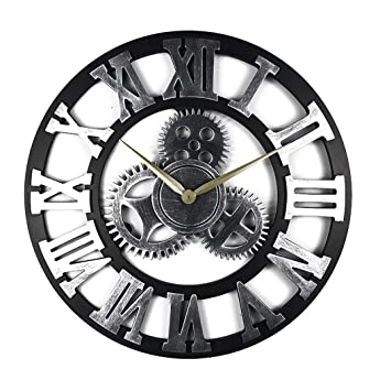Grande Horloge Murale en métal Horloge créative Ronde muet Vitesse Horloge  Murale Arabe numérique Vent Industrielle 0dfe2debdd14