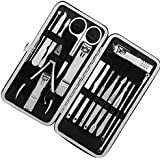 KISENG Manicure Pedicure Set Nail Clippers 16 in 1 Stainless Steel Professional Pedicure Kit Nail Scissors Grooming Kit with Classic Woven Leather Case