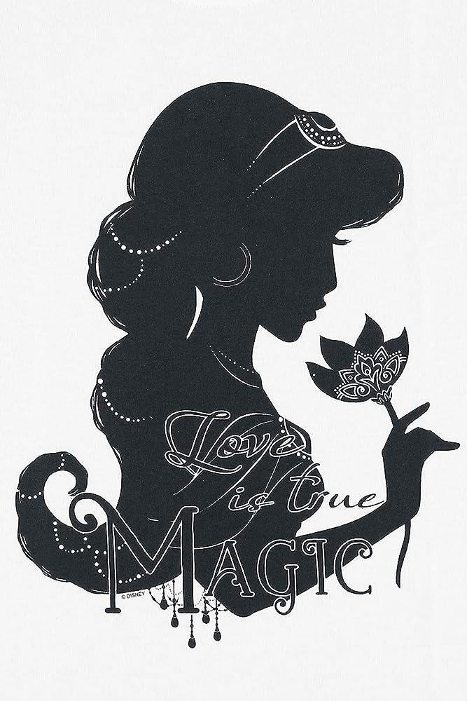 Aladdin Camiseta de Las Señoras Jazmín Amor es Verdadero Blanco de Algodón Mágico de Disney: Amazon.es: Ropa y accesorios
