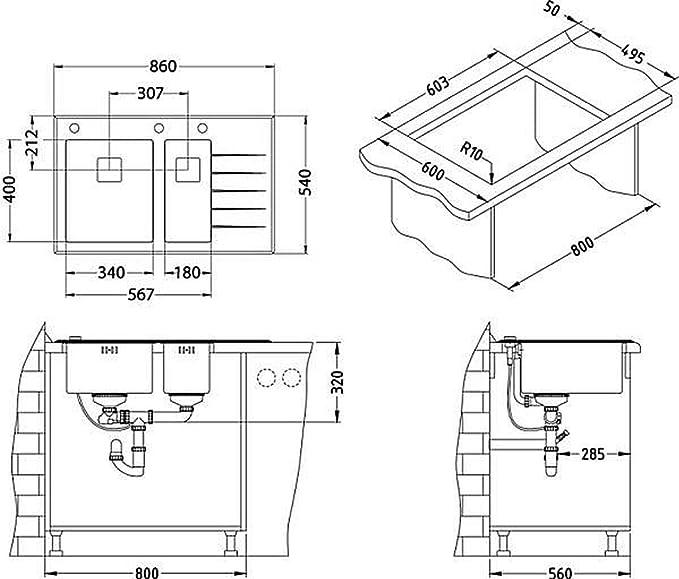 alveus diseño Fregadero Cocina crystalix 20 Lavabo 860x540mm ...