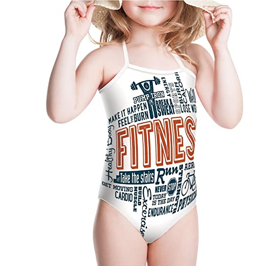 Amazon Com Iprint Swimsuit For Girls Retro Style Typography Active Lifestyleorange Swimwear Clothing