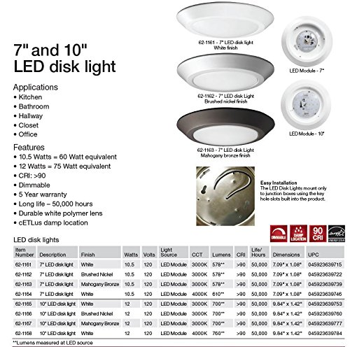 Nuvo 62//1165 One Light Flush Mount 10 inch Diameter White
