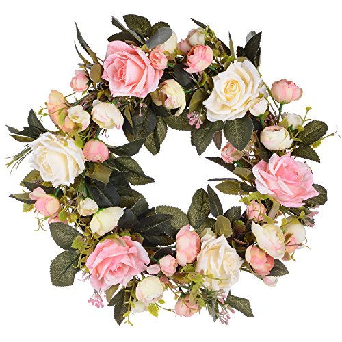 Lvydec Artificial Rose Flower Wreath - Door Wreath 13 Inch Fake Rose Spring Wreath for Front Door, Wall, Wedding, Home Décor (Pink and Wihte) by Lvydec