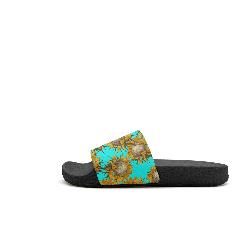 DoDoLa Black Small Cute Kansas Sunflowers Womens Slides Sandals Flat Memory Foam Slippers