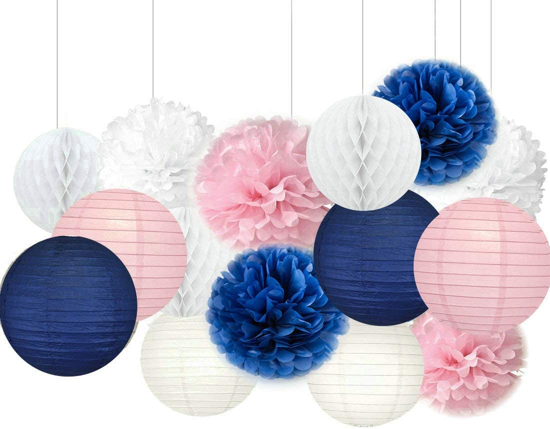 Navy Blue And Pink Baby Shower Decorations  from images-na.ssl-images-amazon.com