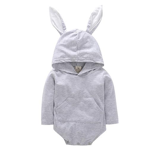 aa3b13457099 Mealeaf ❤ Toddler Infant Baby Girls Boys Cartoon Rabbit Ear Hooded Romper  Jumpsuit