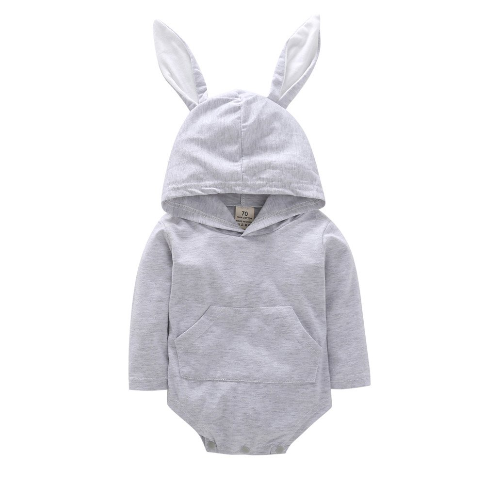 Vinjeely Infant Baby Girls Boys Cute Rabbit Ear Hooded Romper Jumpsuit Outfits