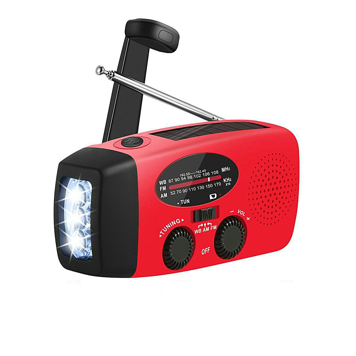 AM/FM/WB Solar Radio Speaker Alarm Clock Emergency Hand Crank Powerful 3 LED Flashlight USB Charging (Red)