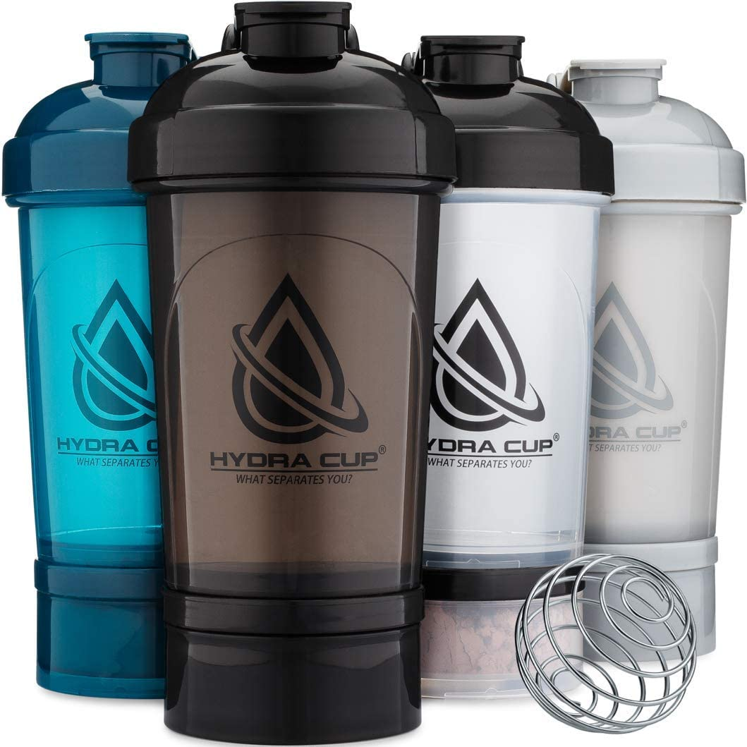 Hydra Cup - [4 Pack] Shaker Bottle with Storage for Powder, 22-Ounce Shaker Cup with Wire Whisk