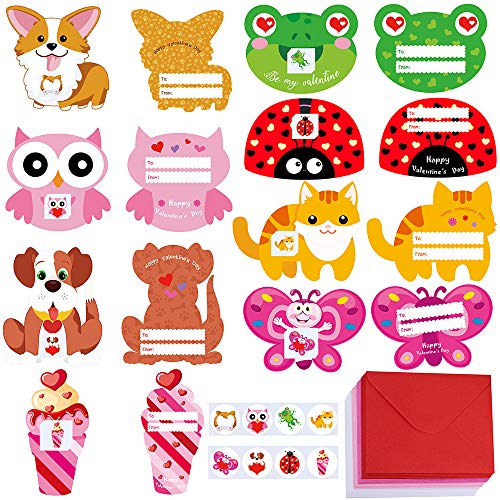 Tattoo Valentines Cards (48 Sets Valentine's Day Cards Bulk Dog Cat Owl Bear Animal Cards Scratch & Sniff Valentine Cards Tattoo Envelopes for Kids Boy Girl Brithday Party Favors Valentine School Classroom Gift)