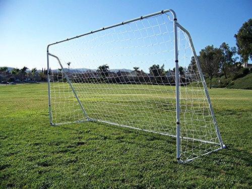 PASS 12 x 6 Foot Steel Soccer Goal w/ Quality Net, Velcro Straps & Anchors. PASS Soccer Goals 12x6