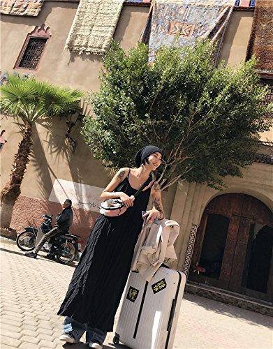 Robe Robe Bretelles Robe Jupes Jupe colore Robes et noiratre Vert Vacances Bretelles MiGMV Simples L de Longue Pure xq4YYI